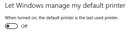 How to set the Default Printer in Windows 10 back to