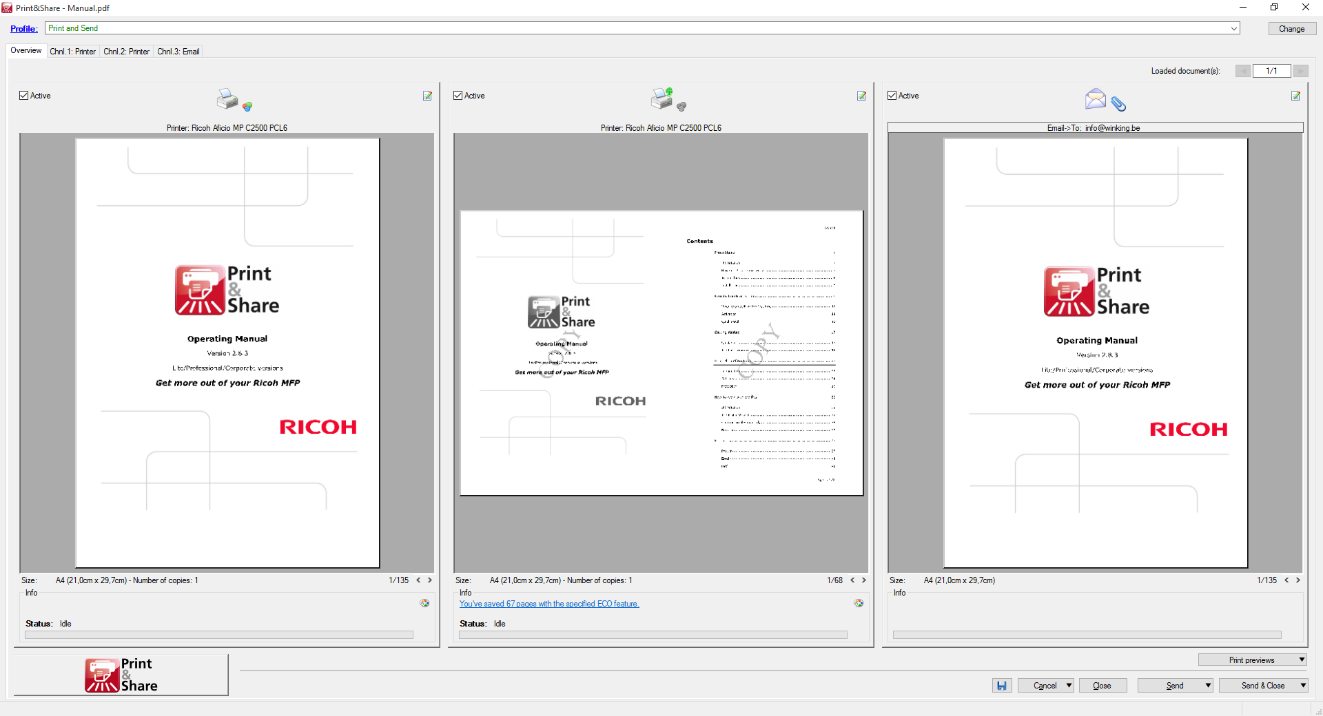 Multiple pages on one sheet - Ricoh Print & Share